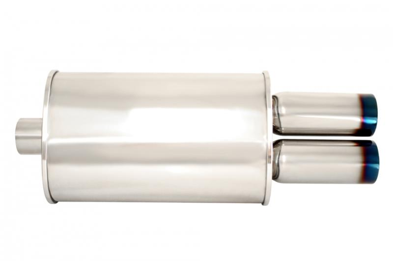 "Megan Racing Universal Exhaust Matte Black Muffler dual 3/"" Tips MR-MU-MDT-B"