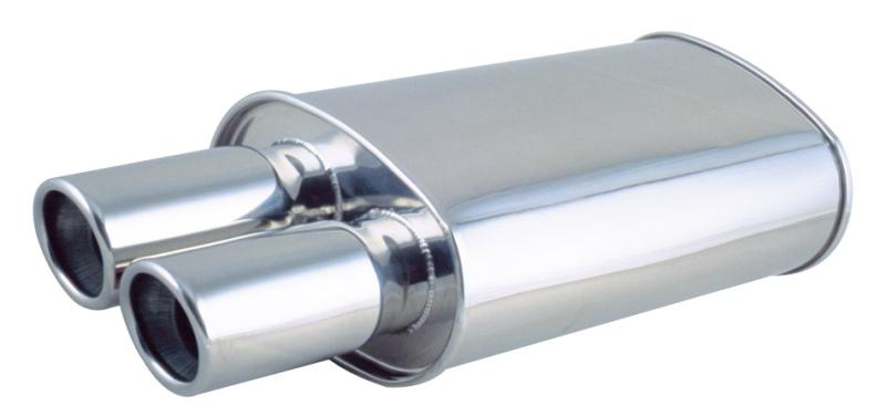 """Vibrant Oval Muffler w// Dual 3.5/"""" Round Tips Straight Cut Beveled Edge 2.5/"""" In"""